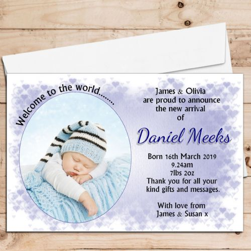 10 Personalised Baby Boy Birth Announcement Thank You Photo Cards N49